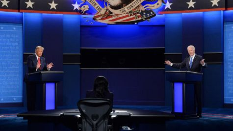 The presidential debate in Nashville, Tennessee, on October 22, 2020: Joe Biden, 2020 Democratic presidential nominee, right, and President Donald Trump, left