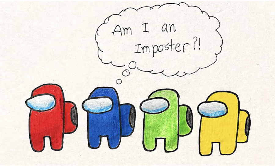 """In the multiplayer game Among Us, players wonder """"Who is the imposter?"""" Using the Among Us characters, I created a drawing which turns that question around to ask, as those with imposter syndrome will ask themselves, """"Am I an imposter?"""""""
